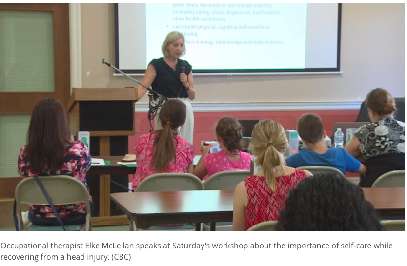 Occupational therapist Elke McLellan speaks at Saturday's workshop about the importance of self-care while recovering from a head injury. (CBC)