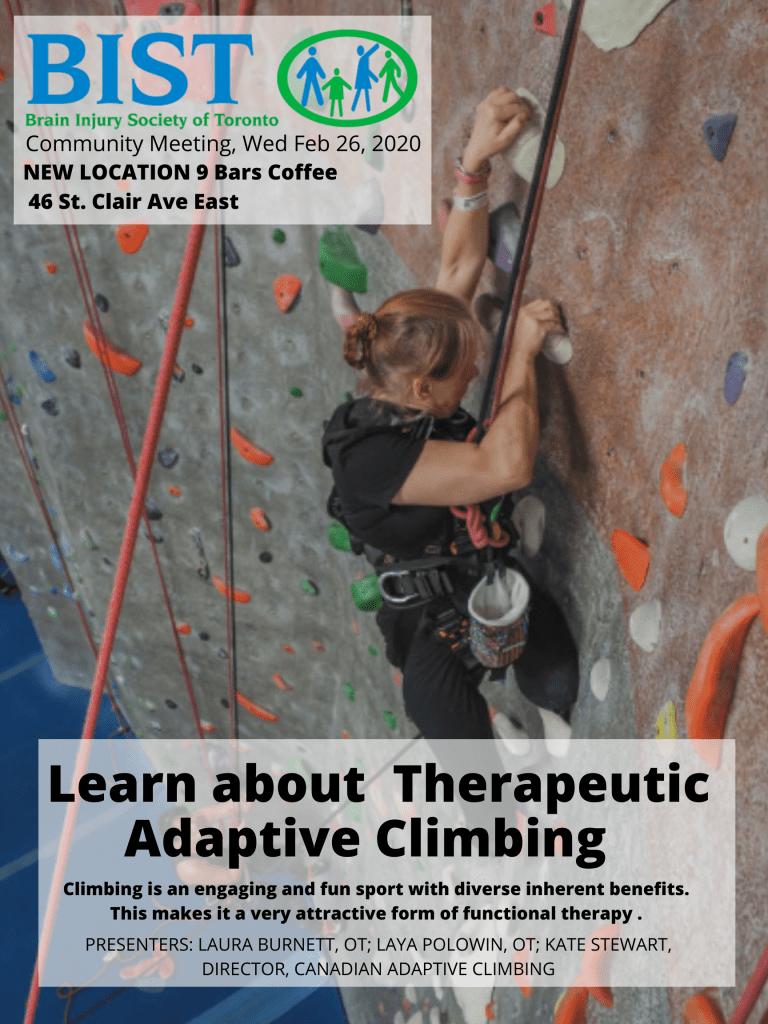 A woman doing adaptive climbing