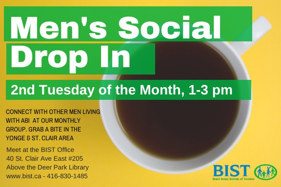 Men's Social Drop In every 2nd Tuesday of the Month 1-3 pm