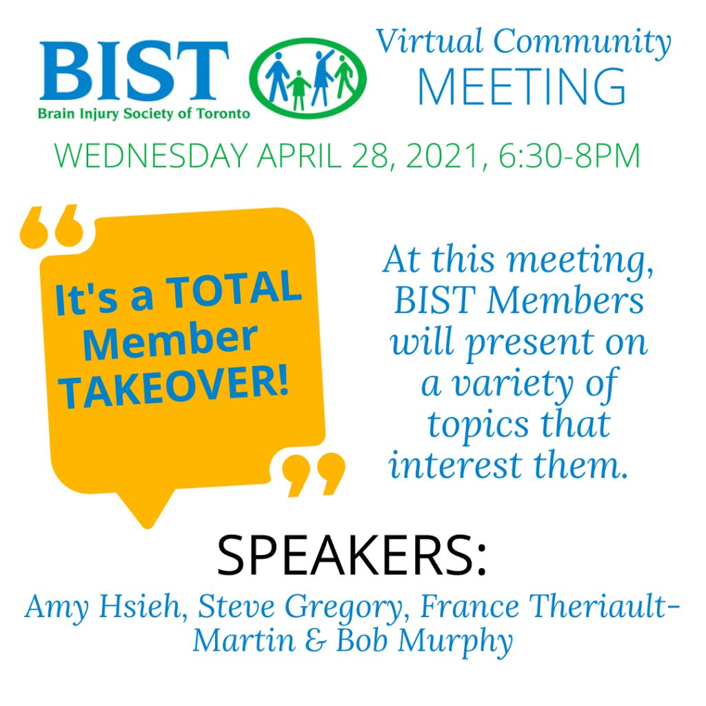 It's a total BIST member takeover april community meeting