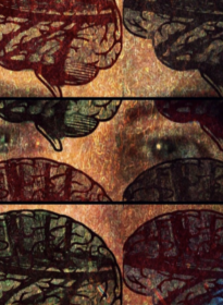 digital art piece featuring artist eyes with images of a brain