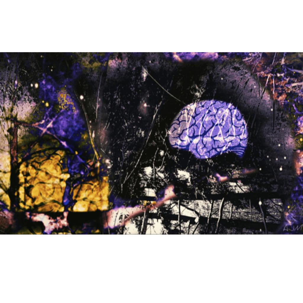 Diigtal art - purple brain floating in space