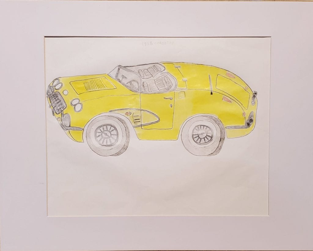 sketch of a yellow car