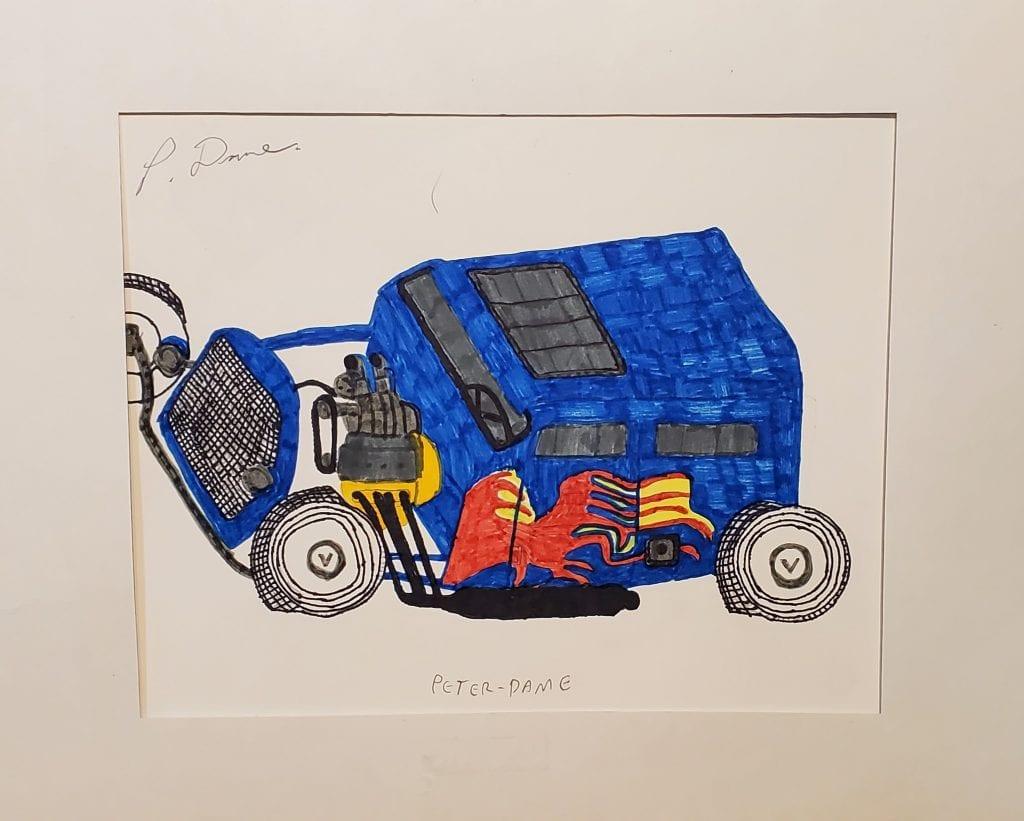 sketch of a blue car