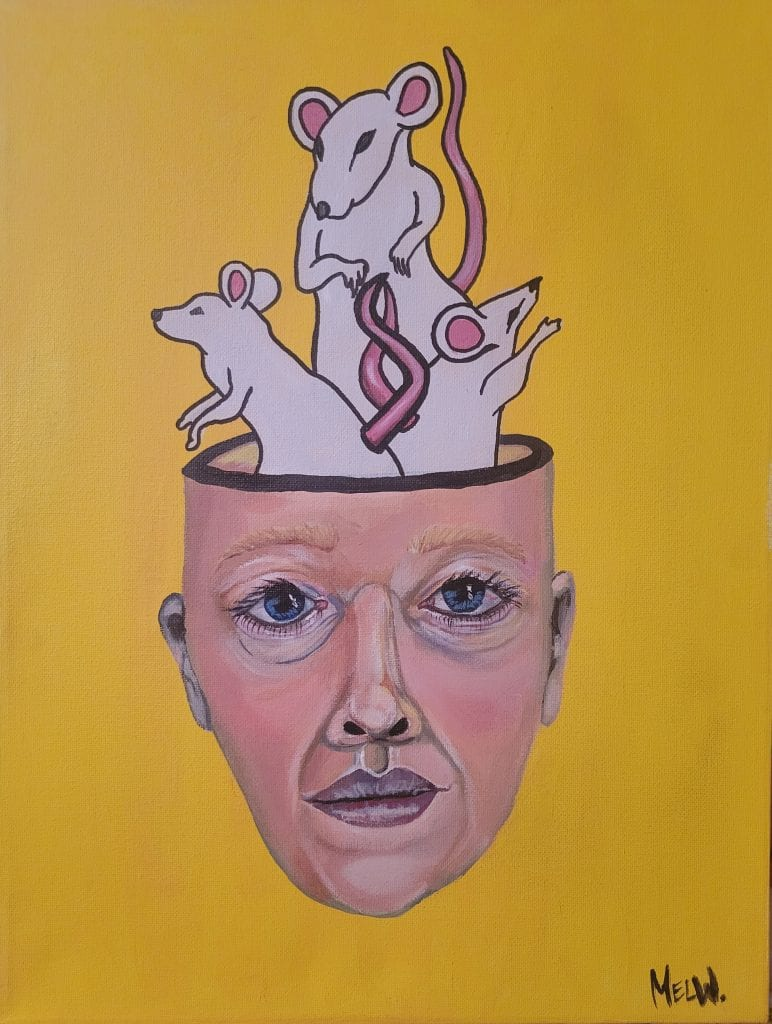 painting of a head with mice coming out of it