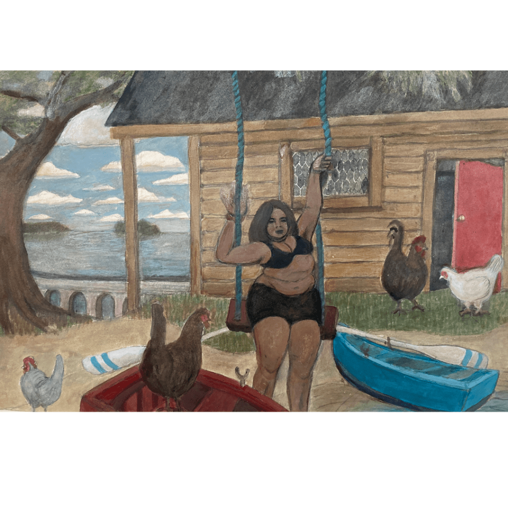 Painting of a woman in a swing, outside a cottage with chickens