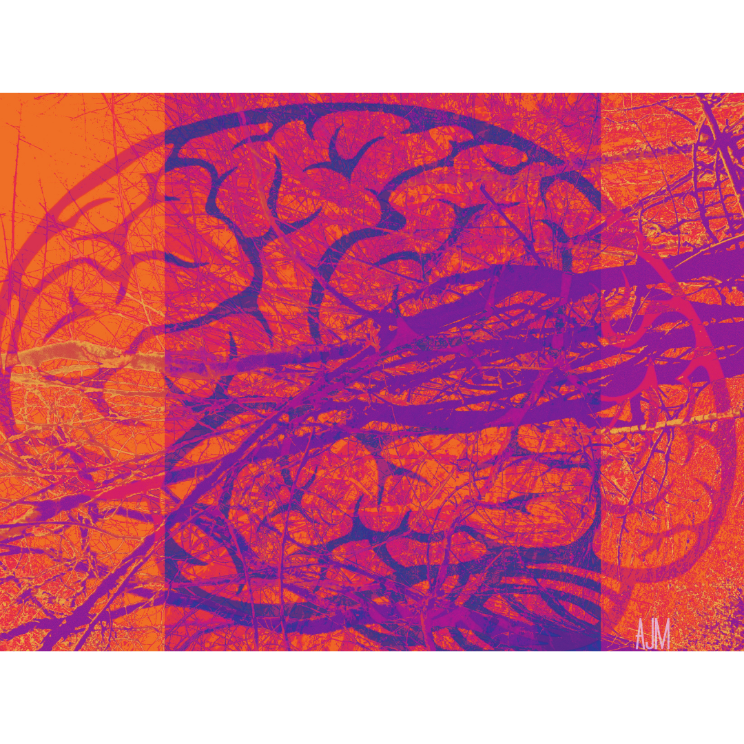 Digital art image of a brain orange and purple