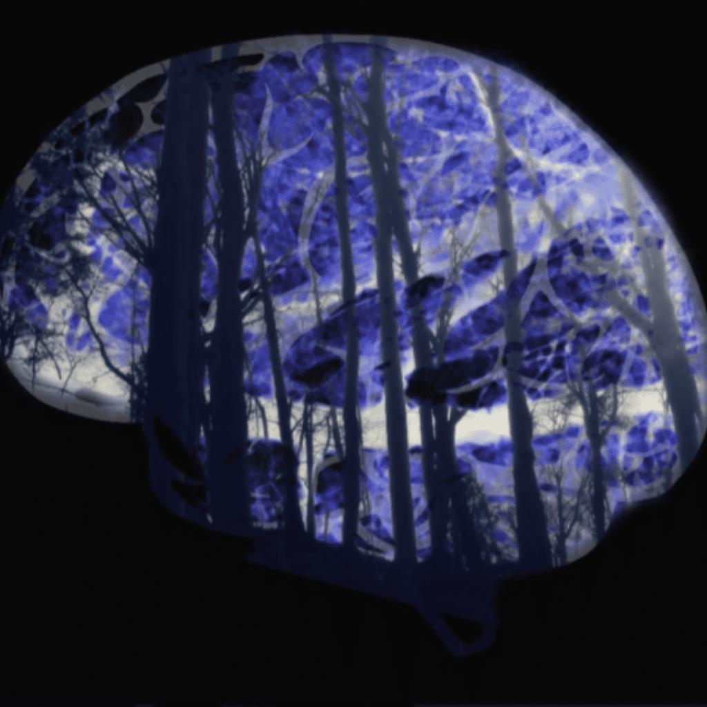 purple digital art image of a brain