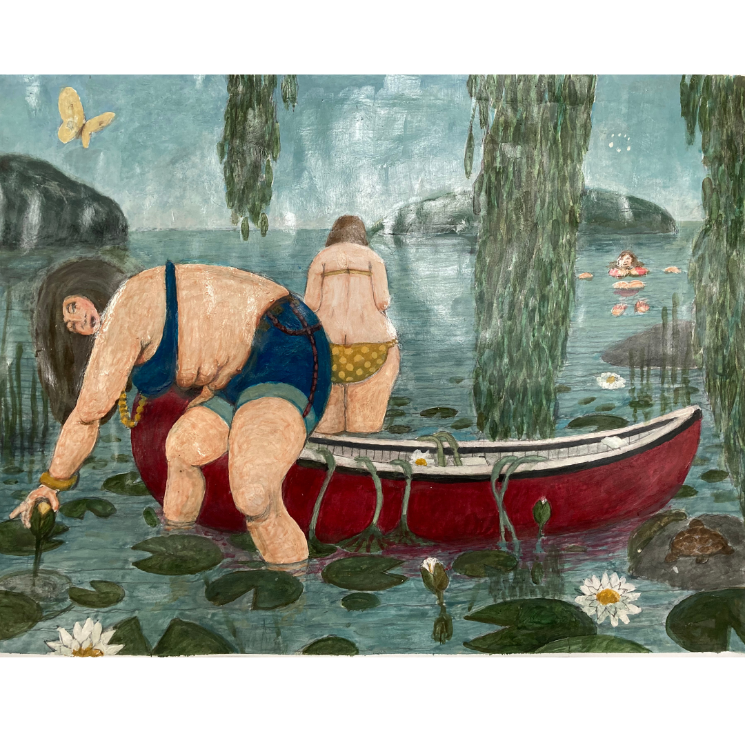 painting of 2 women in a canoe