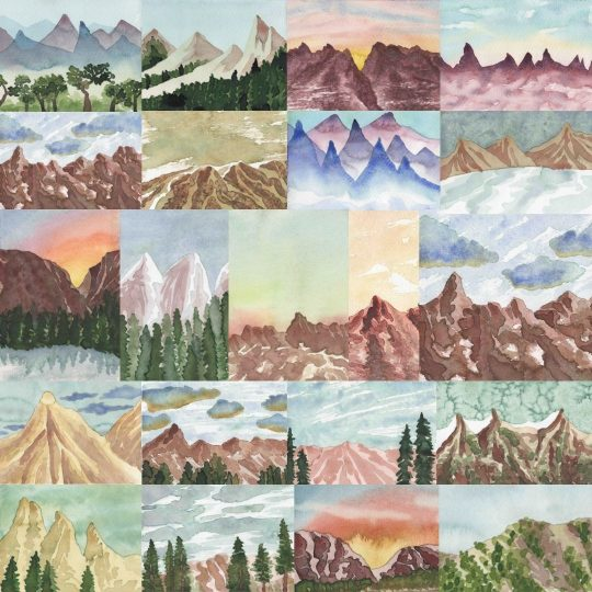 A variety of mountain landscapes painted by Artsy Paint