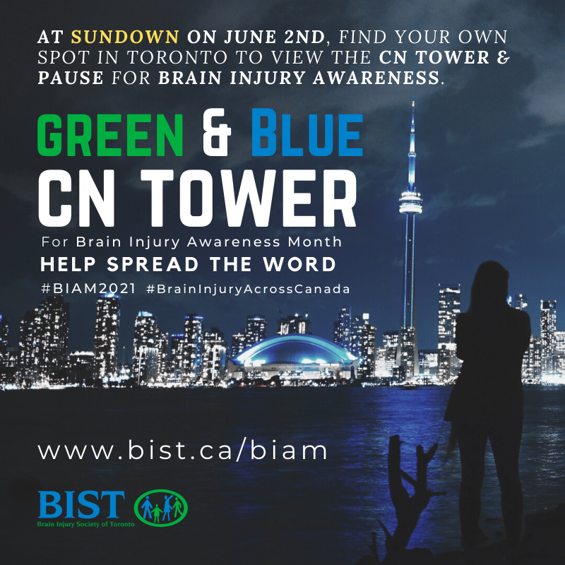 green and blue cn tower for brain injury awareness month