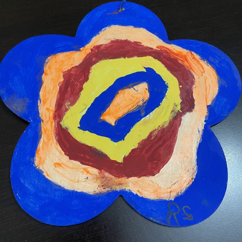 painted wooden flower