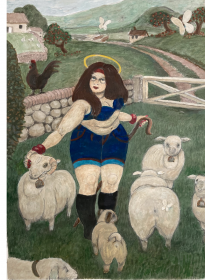 image of a woman in a field with sheep
