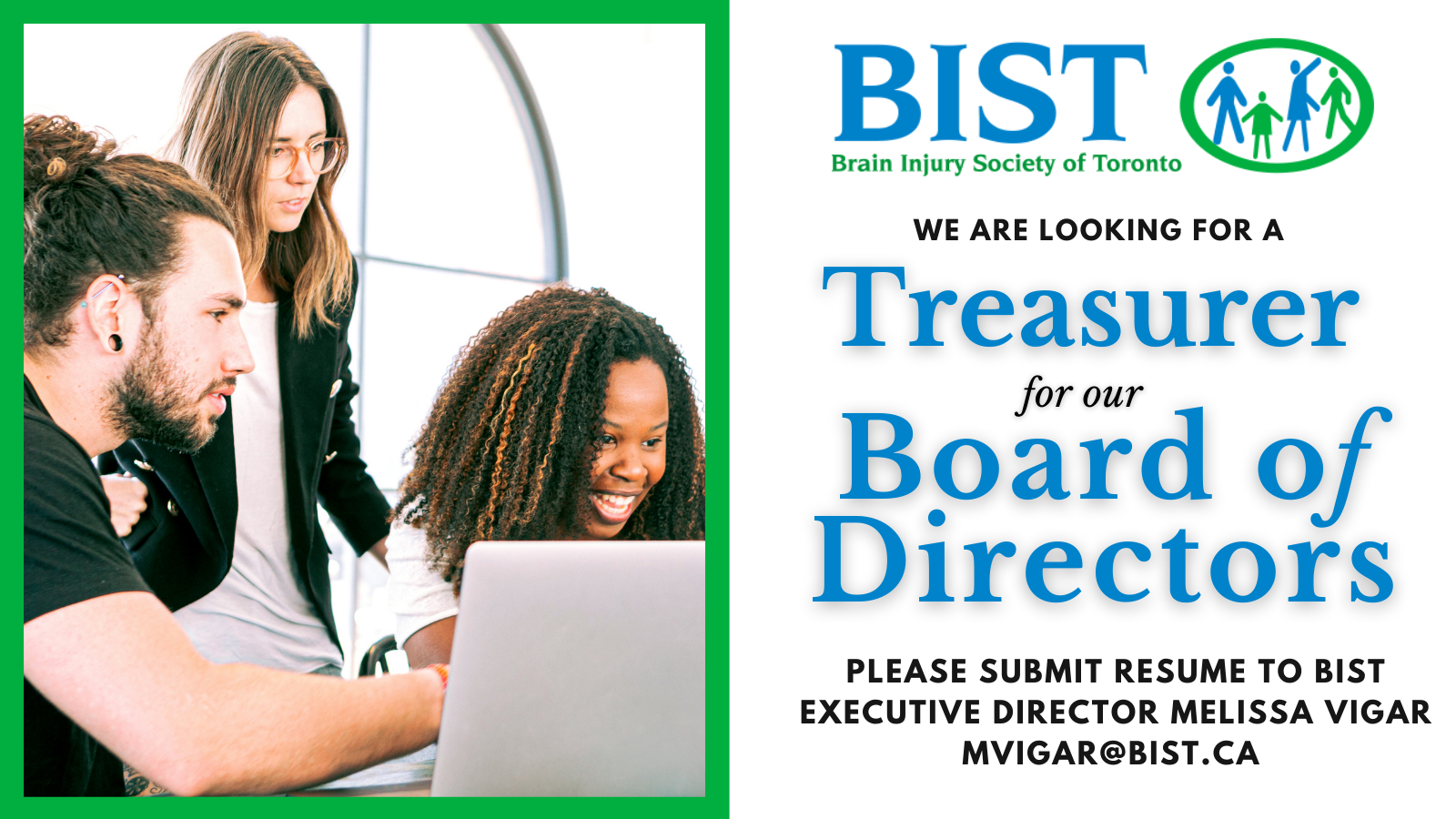 We are looking for a treasurer for our board of directors