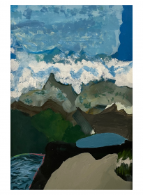 painting of mountains and the sea by Persia Rahbar
