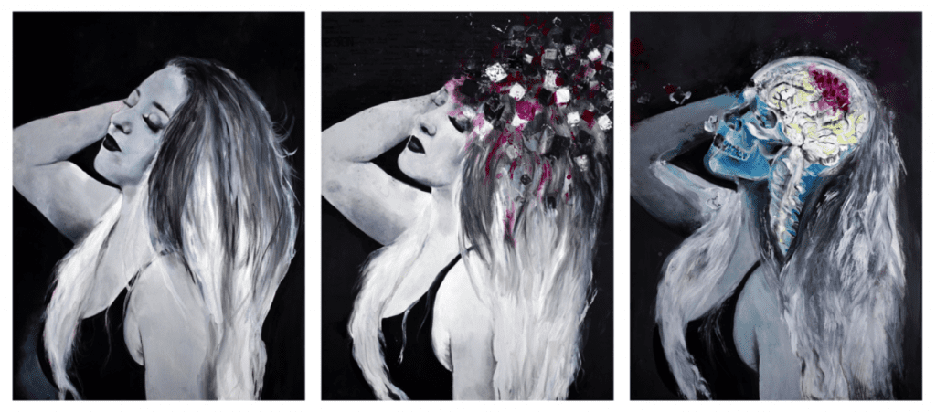 Triptych Silent Epidemic by Taylor Hart